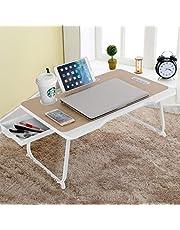 CHARMDI Stolik do łóżka na laptopa, przenośna taca na łóżko na laptopa, biurko na kolano, stolik na kanapę, biurko na laptopa z uchwytem i gniazdem na kartę biurkową i kieszenią na kubek i boczna szuflada na łóżko/sofę - złoty