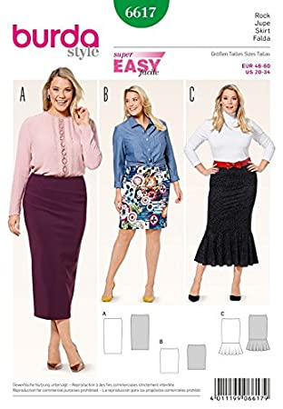 Burda Damen Plus Größe Easy Schnittmuster 6617 Jersey Knit Elastic ...