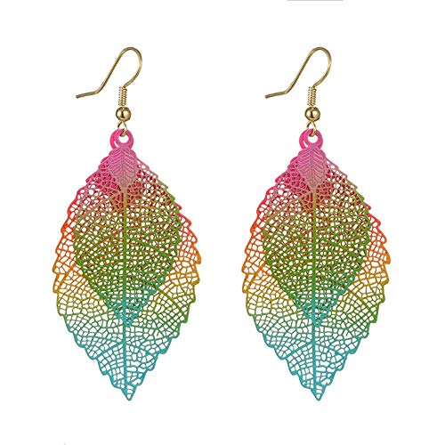 Wintefei Fashion Metal Hollow Colorful Leaf Pendant Drop Hook Earrings Statement Jewelry - Multicolor