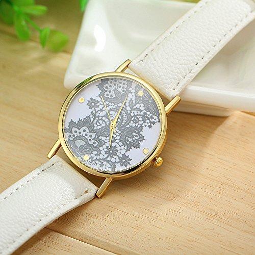 Vavna Fashion Geneva Platinum Watch Lace Print Women's Leather Watches - White / Gold