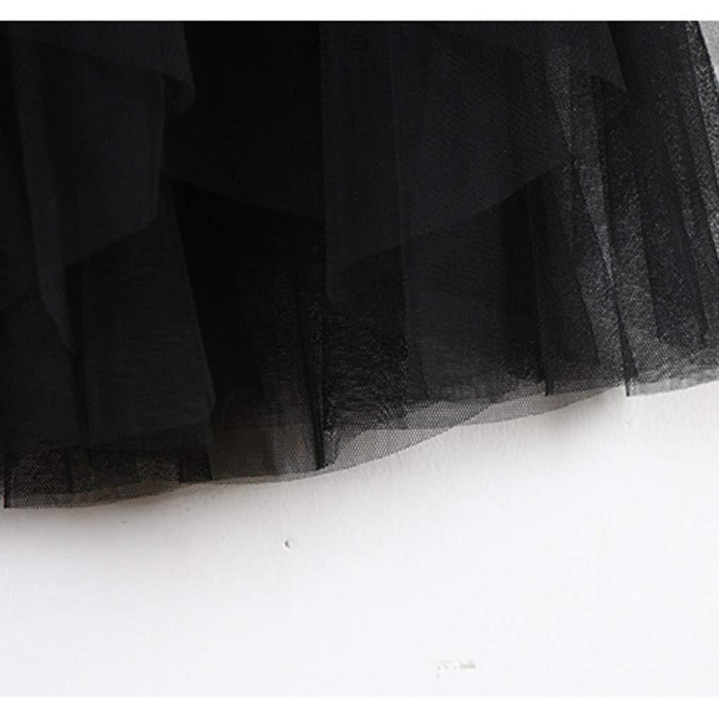 2019 Women A-Line Skirt Princess Long Skirt Tutu Tulle Petticoat Petticoat Basic Irregular Pleated Ball Gown Skirts (Black, Free Size) by Tanlo (Image #6)