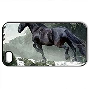 black horse & waterfall - Case Cover for iPhone 4 and 4s (Horses Series, Watercolor style, Black) wangjiang maoyi