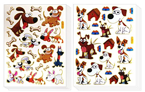 ST-DOGPUPPY - 10 Sheets Cute Puppy Dog & Bone Sticker Self-adhesive Glitter Metallic Foil Reflective Sticker Decorative Scrapbook for Kid, Birthday, Photo, Card, Diary, (Tiny Happy Puppy)