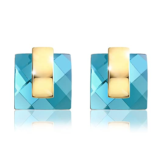 Viennois Geometric Square Blue Crystal Stud Earrings Fashion Women Jewelry