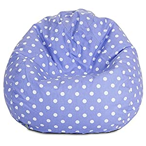 Majestic Home Goods Classic Bean Bag Chair - Mini Polka Dots Giant Classic Bean Bags for Small Adults and Kids (28 x 28 x 22 Inches) (Lavender)