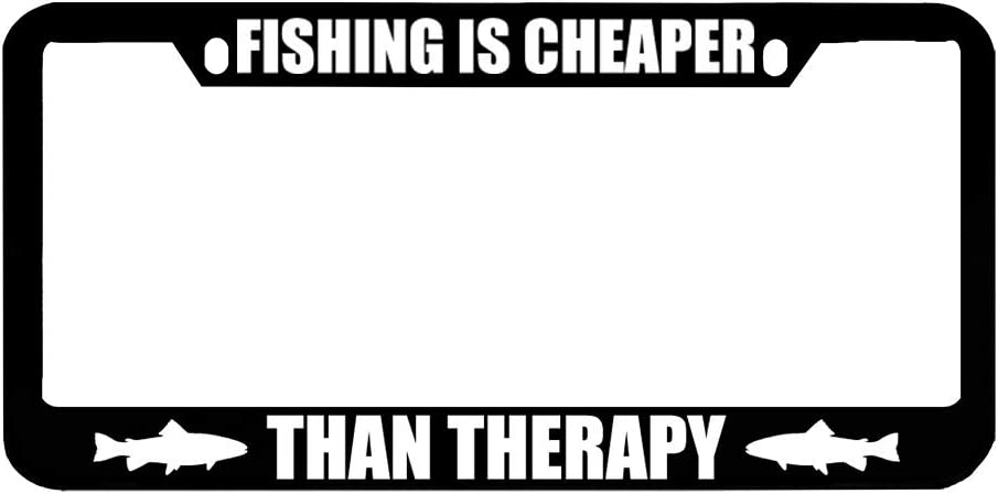 Black 2 Holes Speedy Pros Fishing is Cheaper Than Therapy Zinc Metal License Plate Frame Car Auto Tag Holder