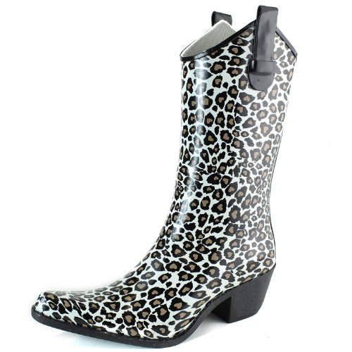 DailyShoes Cowboy Brown Tight Leopard Print High Heel Rain Boots,7 B(M) US