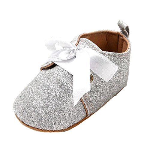 Crib Shoes Fullfun Baby Girl Boys Sequins Shoes Lace up Band Bow Tie Sneaker (3, ()