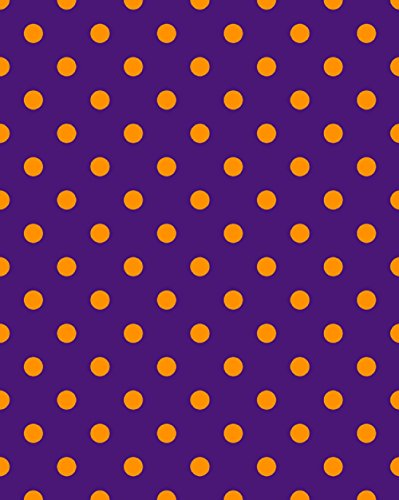 (Knit Purple Orange Dots Design Fabric by the Yard, 95% Cotton, 5% Lycra, 60 Inches Wide, excellent quality, medium weight, 4 way stretch (1)