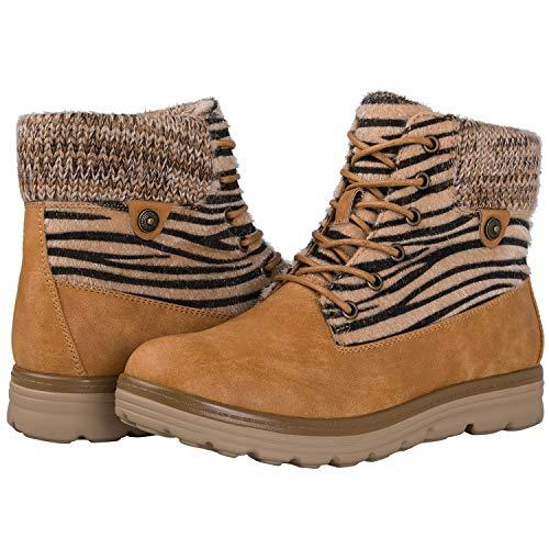Camel Zebra (Globalwin Women's 1832 Camel Zebra Stripe Boots 8M)
