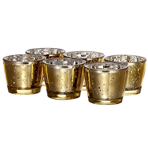 V-More Romantic Thick Wall Mercury Glass Candle Holder Votive Candle Holder Tealight Holder 2.55-inch Tall for Home Decor Wedding Party Celebration (Set of 6, Gold) - Gold Wall Votives
