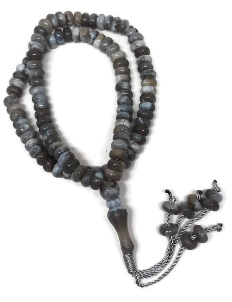Islamic Prayer Tasbih 99 Beads AMN101 Muslim Zikr Rosary Misbaha w//Decorate Tassels Grey