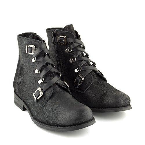 Felmini - Zapatos para Mujer - Enamorarse com Beja 1083 - Botas com Cordones - Cuero Genuino - Negro Negro