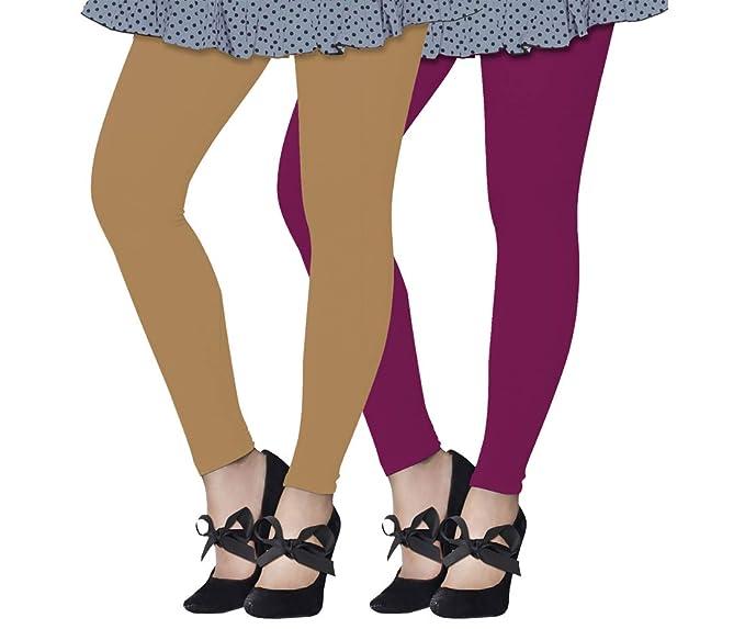4809ae7e11555 Lux Lyra Women's Ankle Length Leggings, Pack of 2 (Beige : Mauve ...