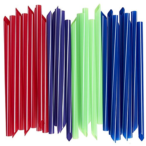 (Extra-Wide Smoothie Straws [100 Pack] Bubble / Boba Tea Straws, Individually Wrapped, Assorted Colors)