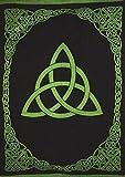 India Arts Celtic Trinity Knot Tapestry Heavy Cotton Spread 98'' x 70'' Twin Green