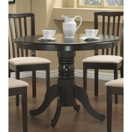 Amazon.com: Coaster Pedestal Round Dining Table Cappuccino Finish: Kitchen  U0026 Dining