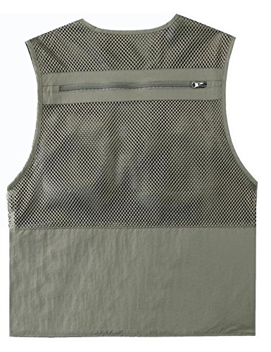 Zhusheng Men's Mesh 16 Pockets Photography Fishing Travel Outdoor Quick Dry Vest Breathable Waistcoat Jackets (XX-Large, Light Khaki) by Zhusheng (Image #5)