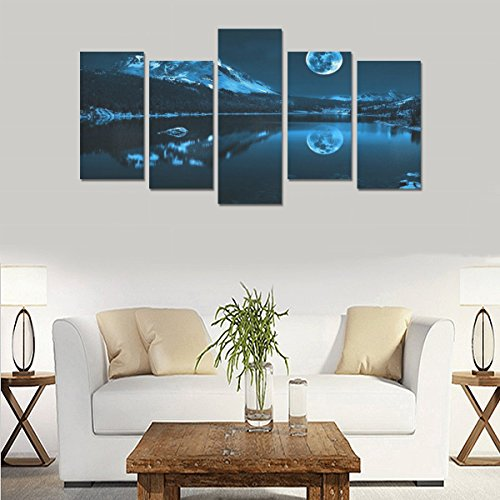Hotel or Spa Personalized Design Full Moon Lake Canvas Print Home Fashion Mural Bedroom Oil Painting Decoration 5 Piece Canvas painting (No Frame) by sentufuzhuang Canvas Printing
