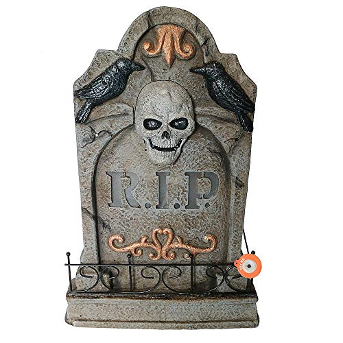 Totally Ghoul LED Lighted Tombstone - RIP Skull