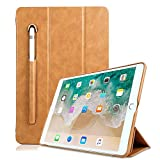 iPad 5th Generation Case PU Leather,Miya 9.7 Inch 2017/2018 Smart Case with Apple Pencil Holder Slim Tri-fold Stand Sleeve Case Pouch Compatible with New iPad 5th / iPad 6th Generation - Light Brown