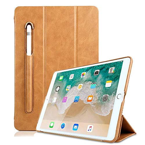 iPad 5th Generation Case PU Leather,Miya 9.7 Inch 2017/2018 Smart Case with Apple Pencil Holder Slim Tri-fold Stand Sleeve Case Pouch Compatible with New iPad 5th / iPad 6th Generation - Light Brown ()