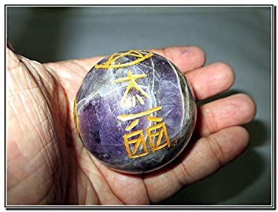New Beautiful Amethyst Crystal Ball Sphere Genuine Original Authentic Usui Engraved 45 mm - 50 mm Gemstone Unique Rare Metaphysical Relaxation Massage Healing Spiritual Love Bonding Spa Wellness Reiki Dr. Mika Usui India Japan Asia Best Seller Quality Pos