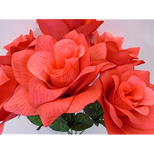 Coral color flowers amazon 3 bushes coral open rose 6 artificial silk flowers 13 bouquet 590cl mightylinksfo