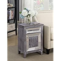 Convenience Concepts 413379WGY Gold Coast Vineyard Cabinet Mirrored Drawer, Weathered Gray/Mirror