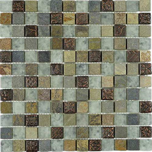 TWG-04 1x1 Slate Glass Mix Stone Mosaic Tile in Grey (10 Sheets)