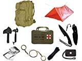 Ultimate Arms Gear Level 3 Assault MOLLE Tan Backpack Kit; Signal Mirror, Polarshield Blanket, Knife Fire Starter, Wire Saw, Axe, 50' Foot Paracord, Camping Tube Tent & First Aid Kit