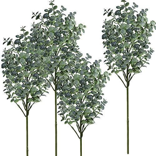 windiy Supla 4 Pack Eucalyptus Leaves Spray Artificial Greenery Stems Fake Wired Eucalyptus Plants Eucalyptus Twigs Sprigs 23