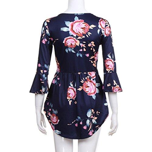 Floreale Estive collo Blu Donna O T Maglietta Elegante shirt Bluestercool Bluse TwRBxZEq
