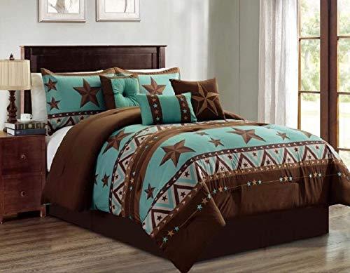 7 Piece King Linens - Linen Mart King Comforter 7 Piece Set Turquoise Rustic Brown Western Stars Pattern Decor Luxury Microfiber 1 Skirt 2 Shams 3 Pillows