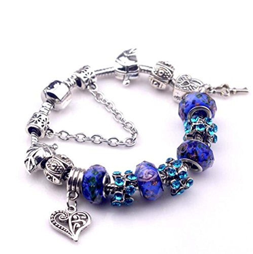 The Starry Night Deep Blue Crystal Beads Diamond Accented Hollow Heart and Lock Pendant Pandora Bracelet (Crystal Blue Fade Frame)