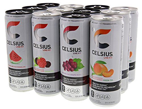 Celsius Variety Pack 1, 3-Sparkling Grape, 3-Sparkling Watermelon, 3-Raspberry Acai Green Tea, and 3- Peach Mango Green Tea 12 - 12 fl oz (355mL) Cans