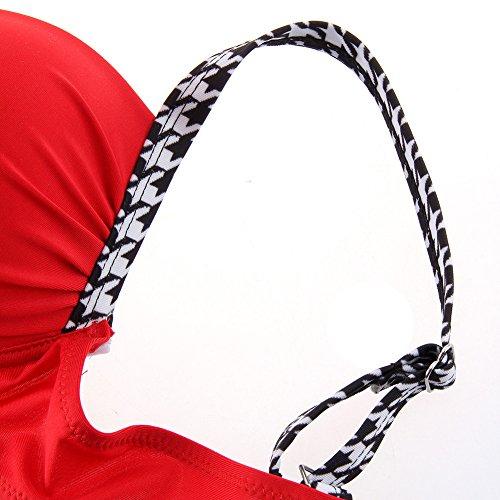 70% RABATT Meedot Damen Bikini-Sets Sexy Badeanzug Swimwear Gepolstert Bra + Slip Strandmode Bademode Große Größen Tankini Beachwear S - XL Rot VBXLCCgY