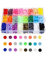Bestgle 408 Sets T5 Plastic Snap Buttons Snaps Starter Fasteners Kit for Sewing and Crafting, 24 Colors