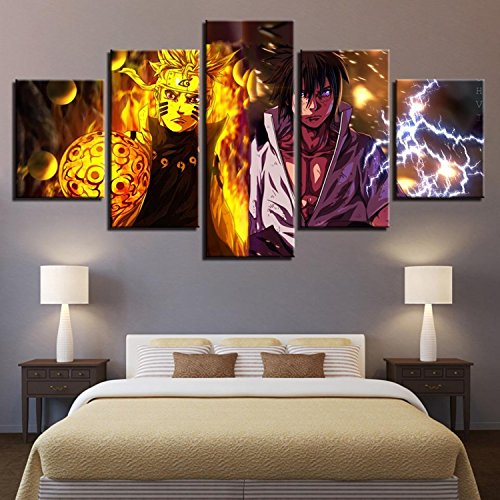 Canvas Wall Art Pictures Home Decor Living Room 5 Pieces Naruto Anime Paintings HD Prints Cartoon Characters Posters (Naruto Cartoon Character)