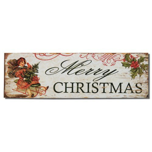 """Adeco Decorative Wood Wall Hanging Sign Plaque """"Merry Christ"""
