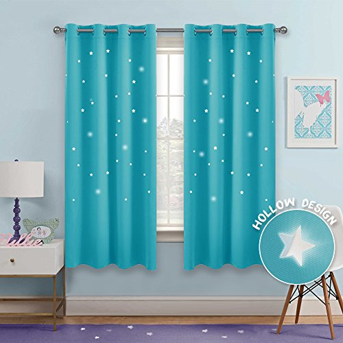 PONY DANCE Blackout Star Curtains - Hollow Out Stars Design Window Treatments Space Inspired Eyelet Top Blackout Curtain Panels Kids Nursery Room, 52'' W 63'' L, Turquoise, Set of 2 Pcs by PONY DANCE