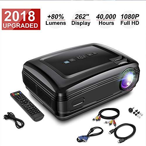 HD Beamer, Projektor 1080P 3200 Lumen mit HDMI USB VGA Fernbedienung SD Kard AV für Heimkino und Büro Unterstützung für…