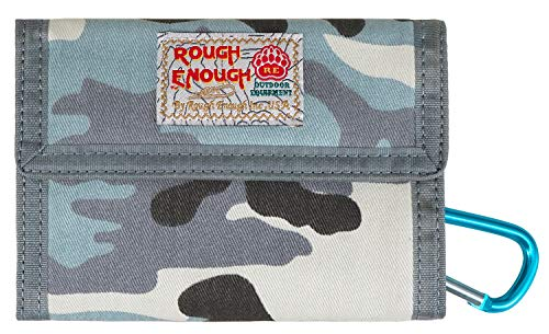 - Rough Enough Minimalist Front Pocket Travel Bifold Canvas Credit Card Wallet Portable Coin Holder Pouch Organizer Case with Zipper for Boys Girls Mens Women School Outdoor Sport