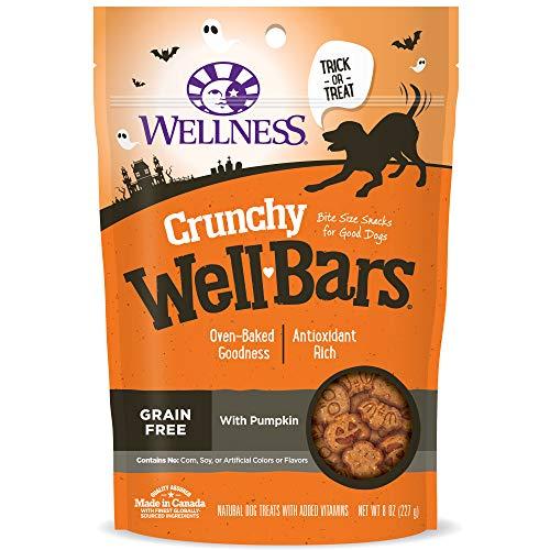 Wellness Wellbars Halloween Grain Free Crunchy Dog Snacks, Pumpkin, 8-Ounce Bag -