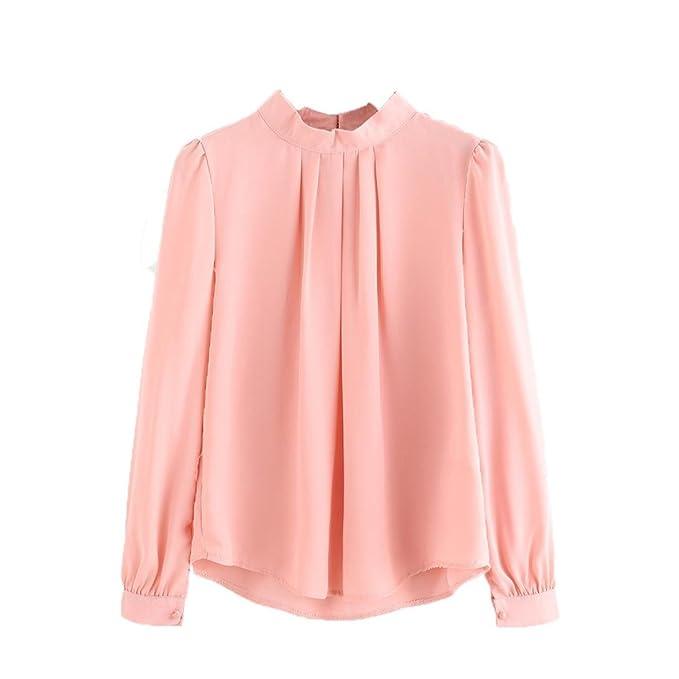 Lenfesh Mujer Camiseta Elegante Suelto Manga Larga Blusa Camisas Casual Color sólido para OL Oficina (