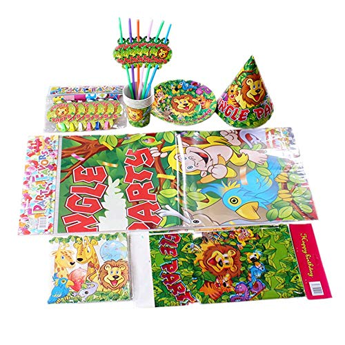 (Party Supplies Pack Including Plates- Hats Etc for 6 Guests- Forest)