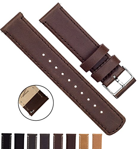 BARTON Quick Release Top Grain Leather Strap - Choose Color & Width (18mm, 20mm or 22mm) - Saddle Brown 20mm Watch Band