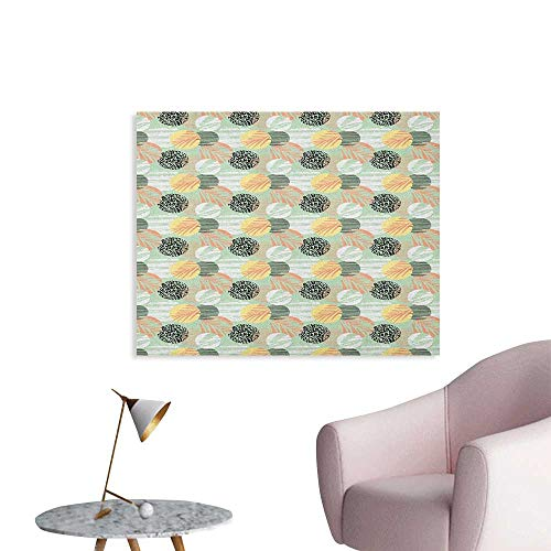 Anzhutwelve Pastel Wallpaper Exotic Pattern with Palm Leaves on Geometric Background and Grunge Look Aloha Beach Poster Print Multicolor W32 xL24 ()