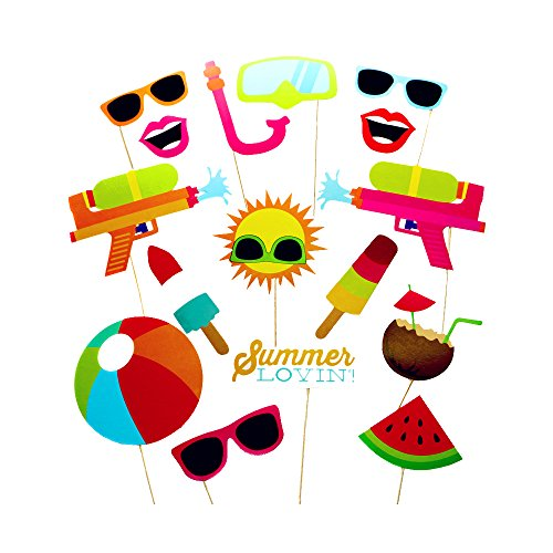 COOLOOdirect 16pcs Hawaii Themed Summer Party Photo Booth Props Kit DIY Luau Party Supplies for Kids birthday Holiday Wedding Beach (Dots Holiday Photo Card)