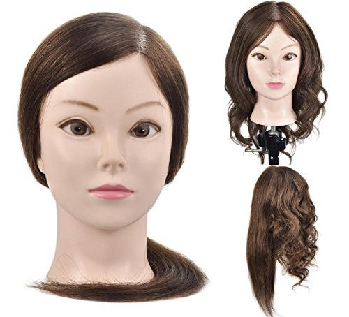 "Beauty : 18"" Mannequin Head with 100% Human Hair Professional Hairdresser Training Head Manikin Cosmetology Doll Head with Free Table Clamp"